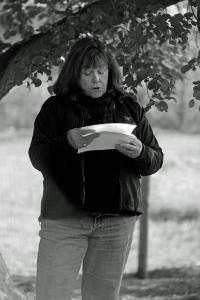 G Forss  Open House guest reading her poem  B&W 135 Ang