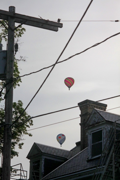 G Forss Hot air balloons over the Rice Mansion gables small