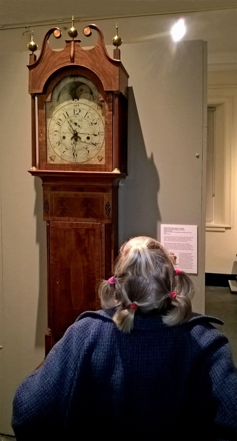 G Forss Donna looking at the famous Case Clock at the Benni